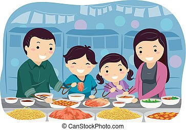 stickman, família, ilustração, tenda, coreano, mercado