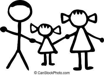 stickman, família, -, pai, filha, mãe