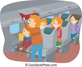 stickman, familia , dentro, un, avión
