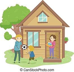 stickman, familia , diminuto, casa