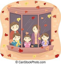 stickman, familia , otoño sale