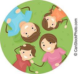 stickman, familia , pasto o césped, niños, ilustración, ...