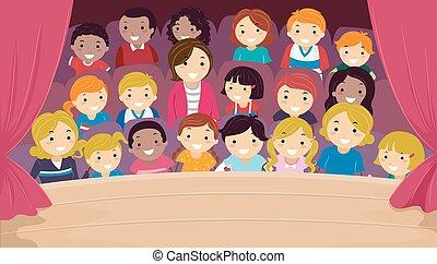 stickman, familia , teatro, niños, ilustración, audiencia