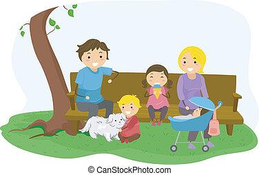 stickman, familie, bindet, an, der, park