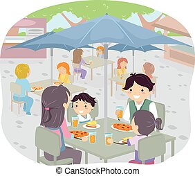 stickman, familie, ißt, al- fresko