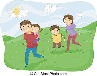 stickman, familie, rennender , auf, der, hügel