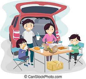 stickman, familie, tailgaiting