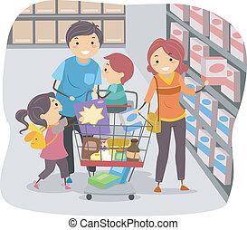 stickman, familie winkelen, in, een, grocery slaan op