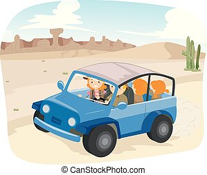 stickman, famille, cavalcade, illustration, aventure, désert
