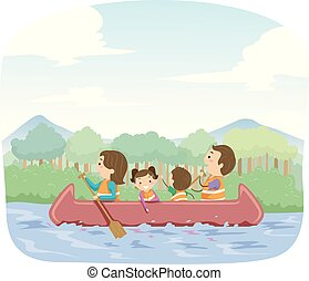 stickman, famille, illustration, canoë