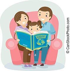 stickman, famille, livre, girl, gosse, géographie