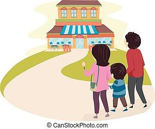 stickman, famille, restaurant