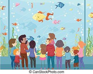 Stickman Family Aquarium - Illustration of a Family Watching...