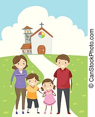 Illustration of a Stickman Family Standing in Front of their Church After Attending Mass