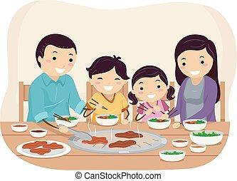 Stickman Family Barbecue Restaurant Illustration