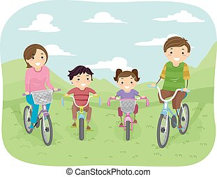 Stickman Family Bike - Illustration of a Family Taking a...