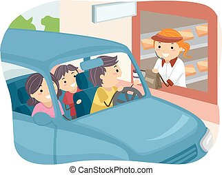 Stickman Family Buying Food at Drive Thru