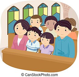 Stickman Family Church - Stickman Illustration of a Family...