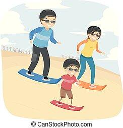 Stickman Family Desert Adventure Sand Boarding
