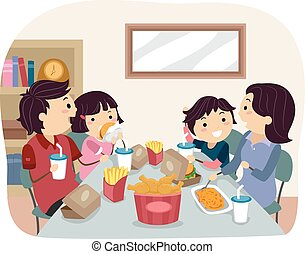 Stickman Family Home Fast Food Dinner/