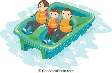 Stickman Family Kid Paddle Boat Illustration