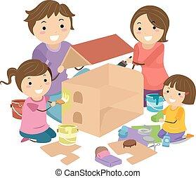 Stickman Family Kids Girl Doll House Illustration