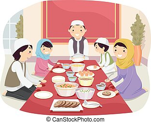 Stickman Family Muslim Eating - Stickman Illustration of a...