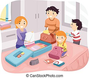 Stickman Family Packing - Illustration of a Family Packing...