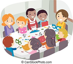Stickman Family Paper Craft - Illustration of Parents and...
