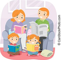 Stickman Family Reading Together