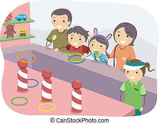 Stickman Family Ring Toss - Illustration of a Stickman...