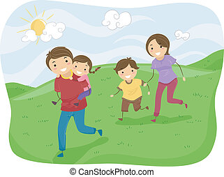 Stickman Family Running on the Hills
