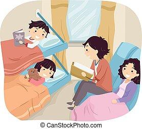 Stickman Family Sleeper Train - Illustration of a Family...