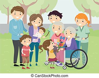 Stickman Family Visit Grandparents Illustration