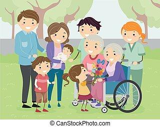 Stickman Family Visit Grandparents Illustration