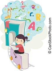 stickman, fantasia, treno, ragazza, libro, capretto