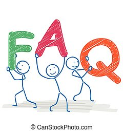 Stickman FAQ - Stickman with text FAQ on the white...