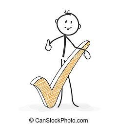 stickman, figura, checkmark, -, wszystko, wtykać, icon., ...