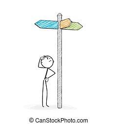 stickman, figura, -, crossroads, wtykać, zakłopotany, icon., znak, rysunek