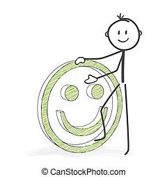 stickman, figura, dodatni, smiley, -, wtykać, rysunek, ikona