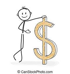 stickman, figura, -, dolar, wtykać, icon., rysunek