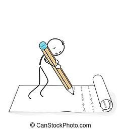stickman, figura, escribe, -, palo, letter., caricatura