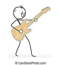 stickman, figura, -, rysunek, gitara, wtykać, icon., kołysanie, rusztowanie