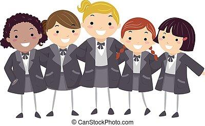 stickman, filles, hiver, uniforme