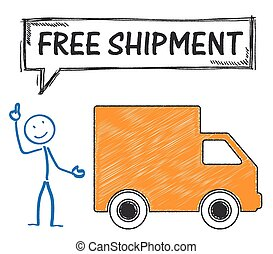 Stickman Free Shipment - Stickman with shipment car and text...