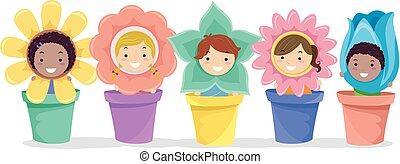 stickman, garnki, dzieciaki, kwiaty, ilustracja