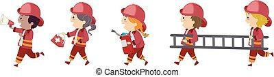 stickman, geitjes, brandweerman, illustratie