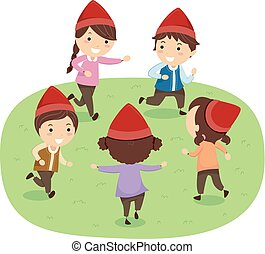stickman, geitjes, dwarves, toneelstuk, samen, illustratie