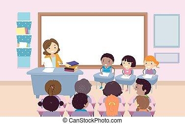 stickman, geitjes, klaslokaal, quiz, bij, illustratie