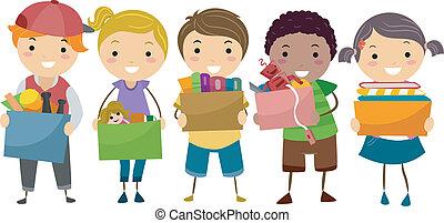 stickman, geitjes, met, collectebussen, volle, van, speelgoed